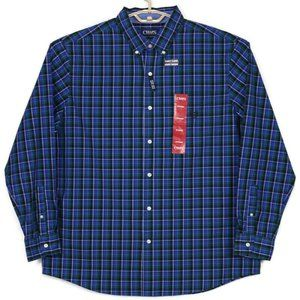 Chaps Shirt Easy Care XL Blue Green Plaid